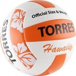 Купить Мяч волейбольный любительский для пляжа Torres Hawaii арт. V30075B, размер 5, бело-оранжево-черный