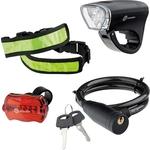 Купить Набор велосипедный Stern 90561 (передний и задний фонари LED, светоотражатель тросовый замок)