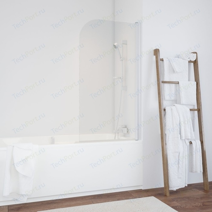 Шторка на ванну Vegas Glass EV 0075 01 R правая, профиль белый, стекло прозрачное