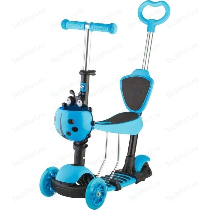 Самокат 3-х колесный NOVATRACK Disco-kids, детский трансформер голубой 120SB. DISCOKIDS. BL9