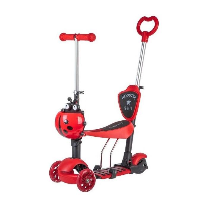 Самокат 3-х колесный NOVATRACK Disco-kids, детский трансформер красный 120SB. DISCOKIDS. RD9