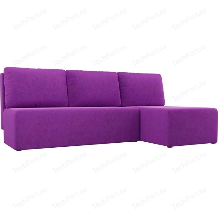 Угловой диван АртМебель Поло микровельвет фиолетовый правый угол