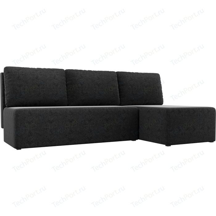 Угловой диван АртМебель Поло микровельвет черный правый угол
