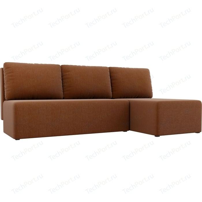Угловой диван АртМебель Поло рогожка коричневый правый угол