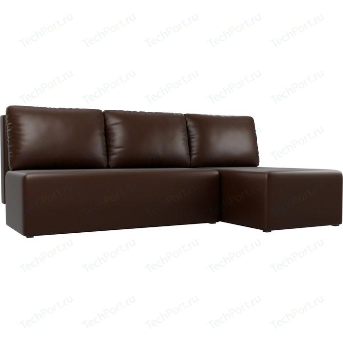 Угловой диван АртМебель Поло экокожа коричневый правый угол
