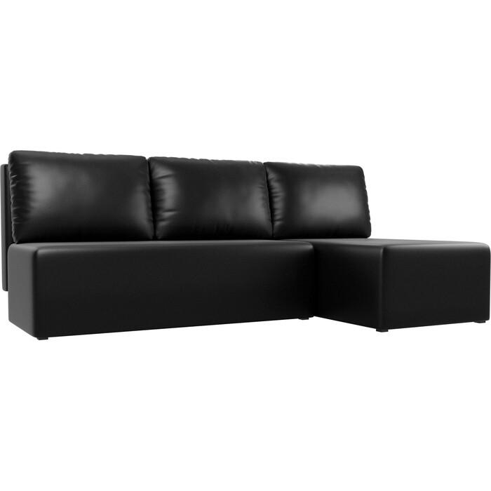 Угловой диван АртМебель Поло экокожа черный правый угол
