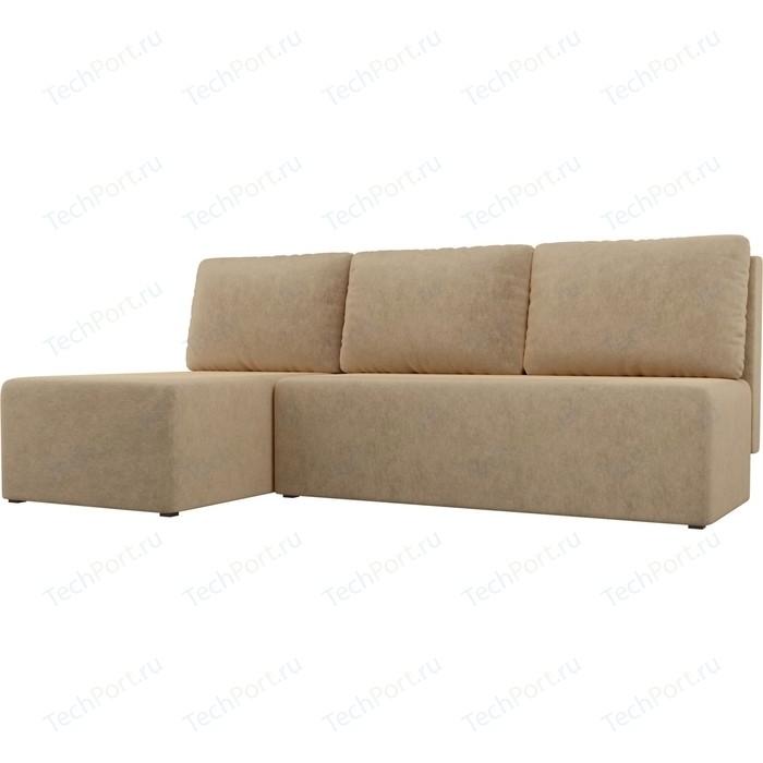 Угловой диван АртМебель Поло микровельвет бежевый левый угол