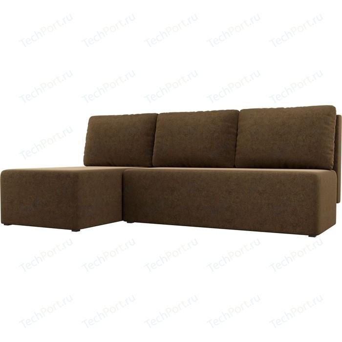 Угловой диван АртМебель Поло микровельвет коричневый левый угол