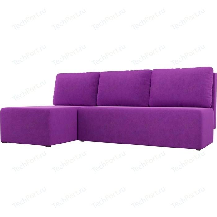Угловой диван АртМебель Поло микровельвет фиолетовый левый угол
