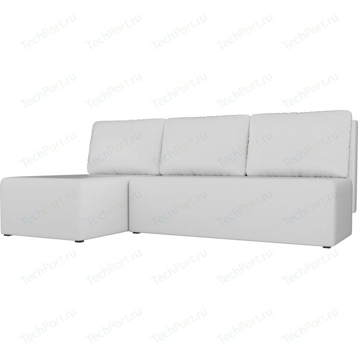 Угловой диван АртМебель Поло экокожа белый левый угол