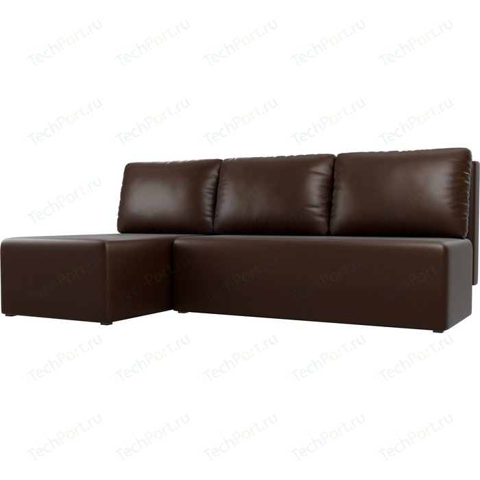 Угловой диван АртМебель Поло экокожа коричневый левый угол