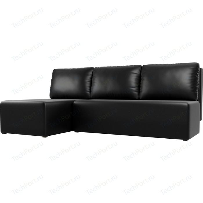 Угловой диван АртМебель Поло экокожа черный левый угол