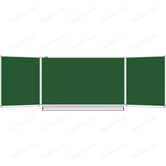 Доска магнитная BRAUBERG 231707 3-х элементная, 5 рабочих поверхностей, зеленая для мела 100x150/300