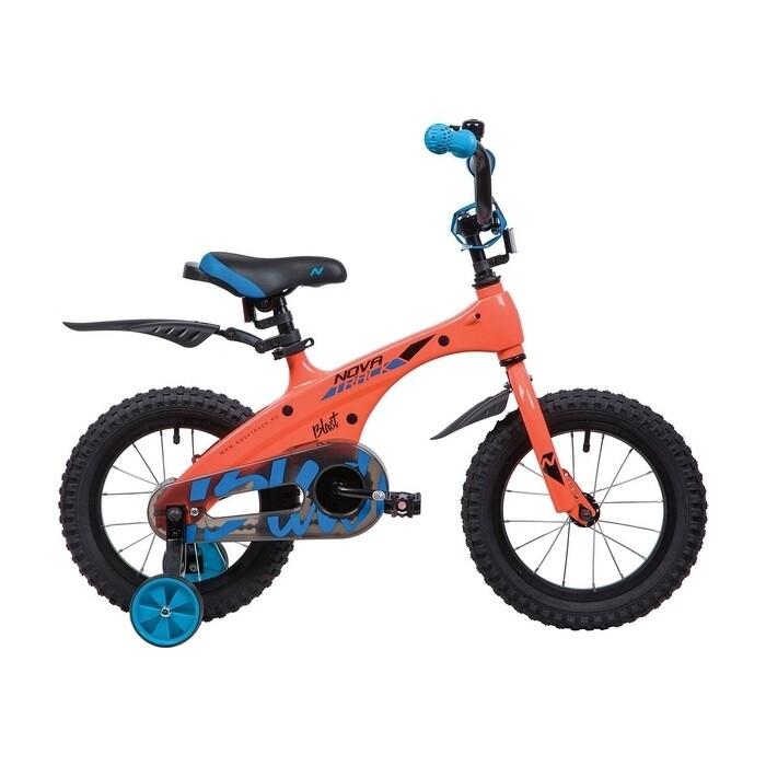 Велосипед 2-х колесный NOVATRACK 14 магний-алюминиевая рама BLAST оранж. неон 145MBLAST.OR9