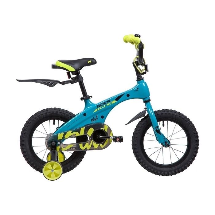 Велосипед 2-х колесный NOVATRACK 14 магний-алюминиевая рама BLAST бирюза неон 145MBLAST.TQ9