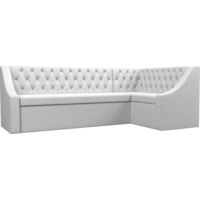 Кухонный угловой диван АртМебель Мерлин экокожа белый правый угол