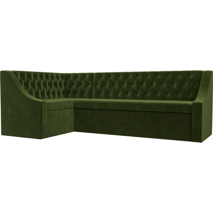 Кухонный угловой диван АртМебель Мерлин вельвет зеленый левый угол