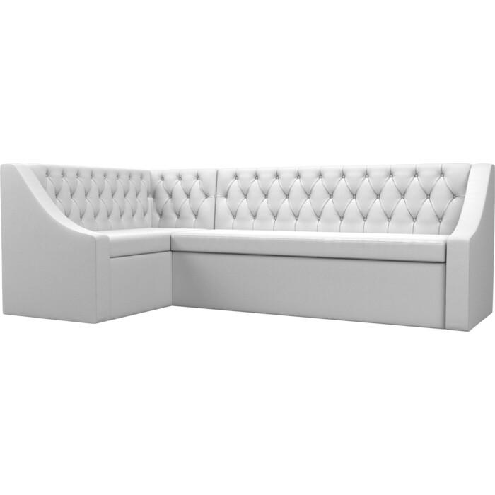 Кухонный угловой диван АртМебель Мерлин экокожа белый левый угол