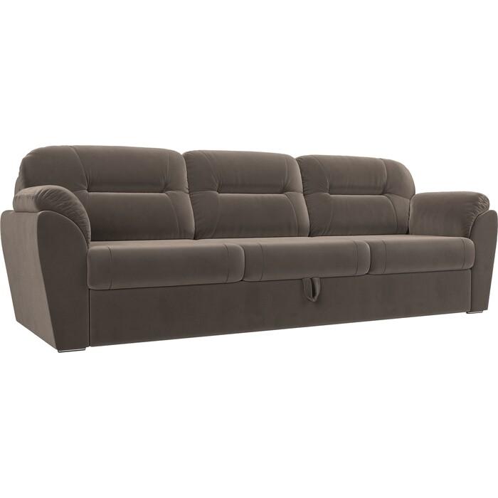Прямой диван Лига Диванов Бостон велюр коричневый недорого