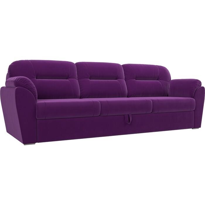 Прямой диван Лига Диванов Бостон велюр фиолетовый недорого