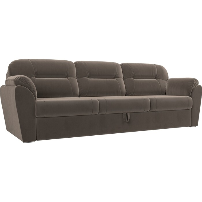 Прямой диван Лига Диванов Бостон велюр коричневый MR