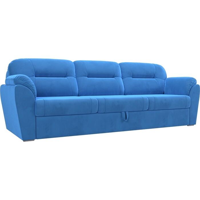 Прямой диван Лига Диванов Бостон велюр голубой MR недорого
