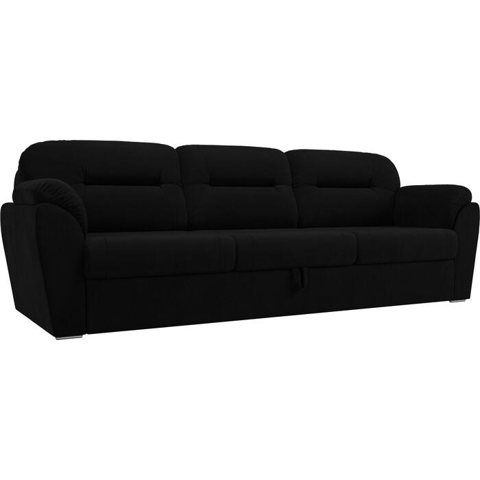 Прямой диван Лига Диванов Бостон велюр черный MR