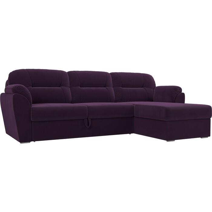 Угловой диван Лига Диванов Бостон велюр фиолетовый правый угол недорого