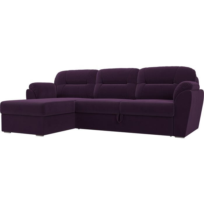 Угловой диван Лига Диванов Бостон велюр фиолетовый левый угол недорого