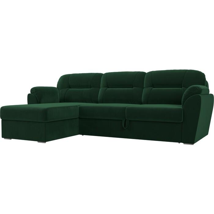 Угловой диван Лига Диванов Бостон велюр MR зеленый левый угол