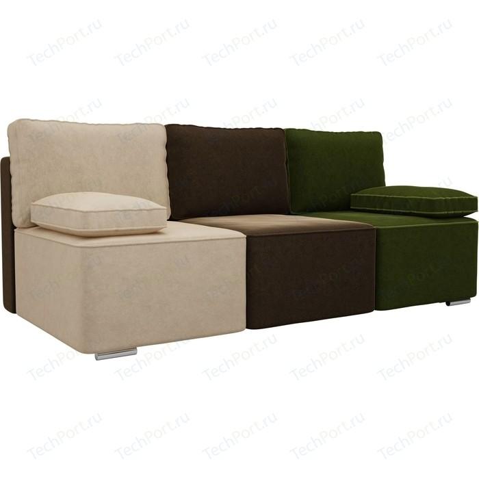 Прямой диван Лига Диванов Радуга микровельвет бежевый/коричневый/зеленый