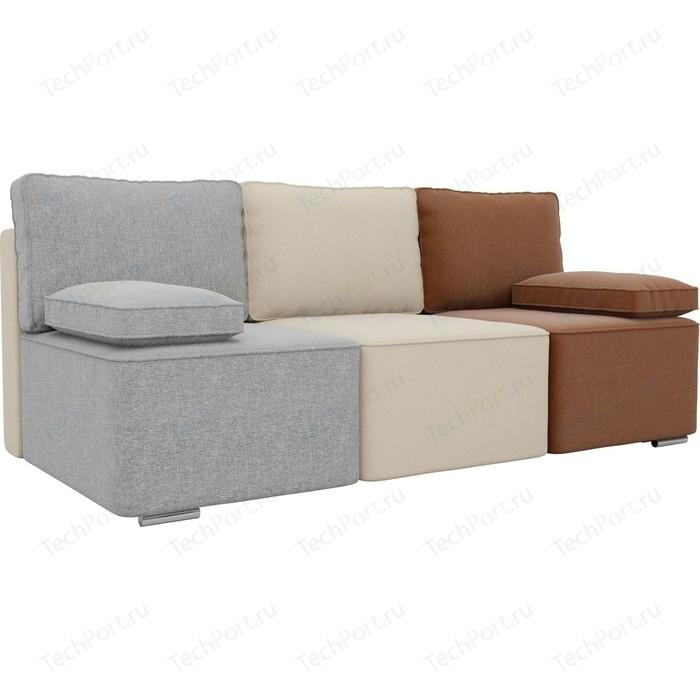 Прямой диван Лига Диванов Радуга рогожка серый/бежевый/коричневый