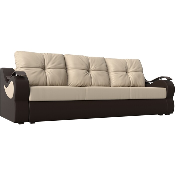 Фото - Диван АртМебель Меркурий экокожа бежевый/коричневый прямой диван артмебель меркурий экокожа бежевый коричневый прямой