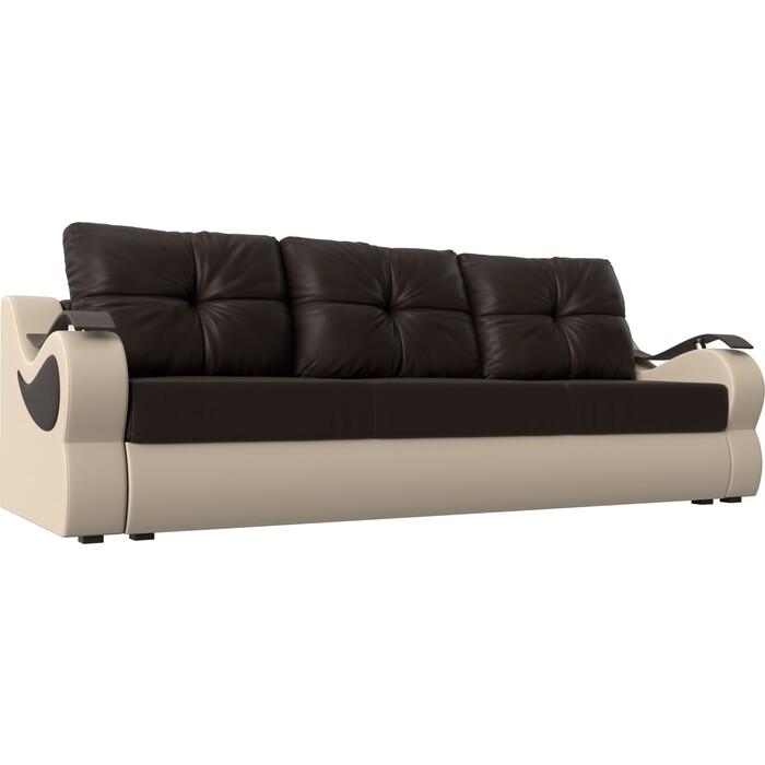 Фото - Диван АртМебель Меркурий экокожа коричневый/бежевый прямой диван артмебель меркурий экокожа бежевый коричневый прямой