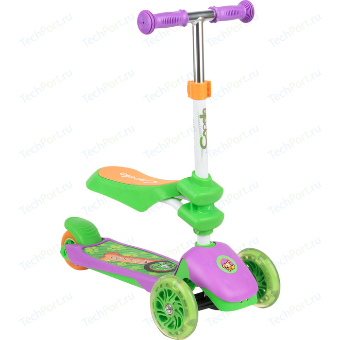 Самокат 3-х колесный Capella PUPPY green+purple, (зел+фиолет) GL000568114