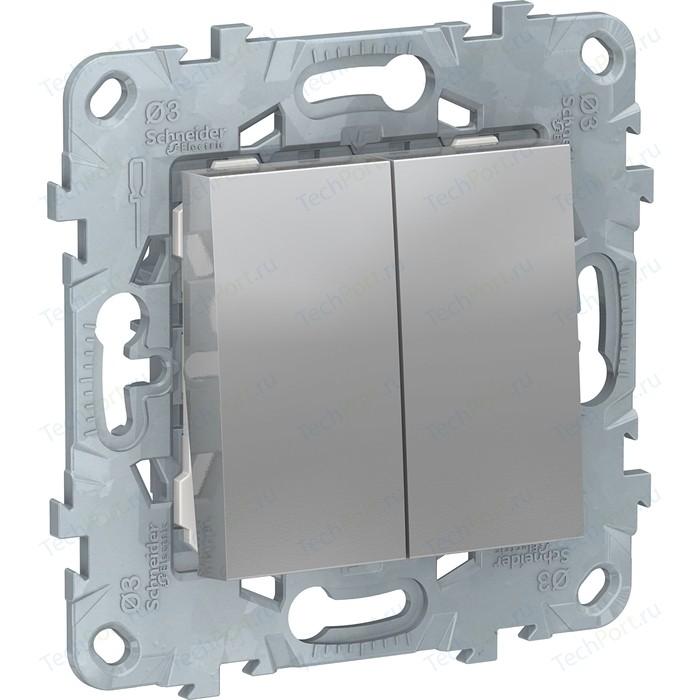 Выключатель двухклавишный Schneider Electric UNICA NEW (сх.5) алюминий NU521130