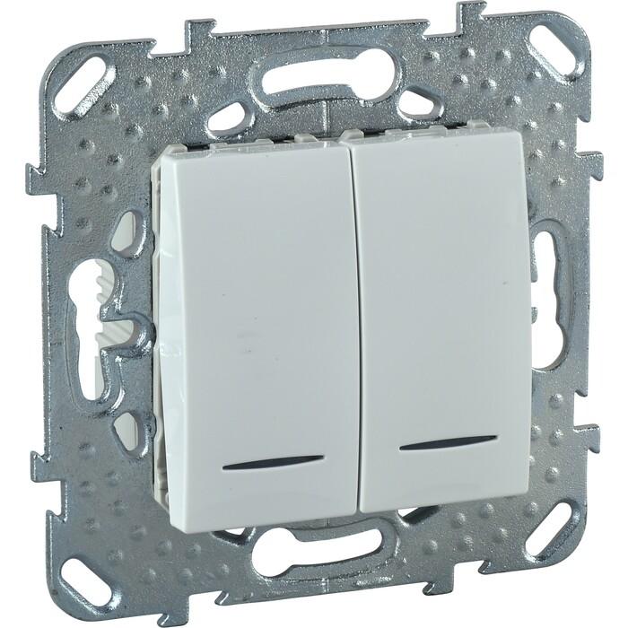 Выключатель двухклавишный Schneider Electric механизм СП UNICA 10А IP20 с индикацией белый MGU5.0101.18NZD