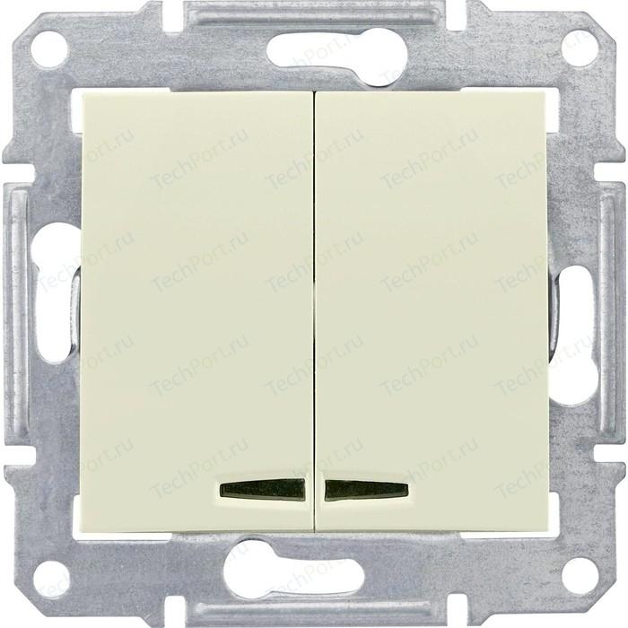 Выключатель двухклавишный Schneider Electric механизм СП Sedna 10А IP20 с син. индик. бежевый SDN0300347
