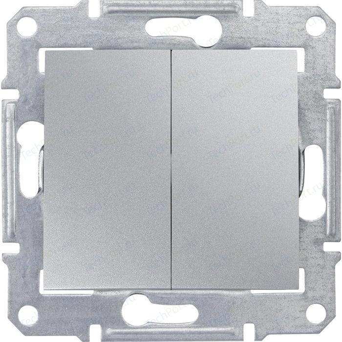 Выключатель двухклавишный Schneider Electric механизм СП Sedna 10А IP20 алюминий SDN0300160