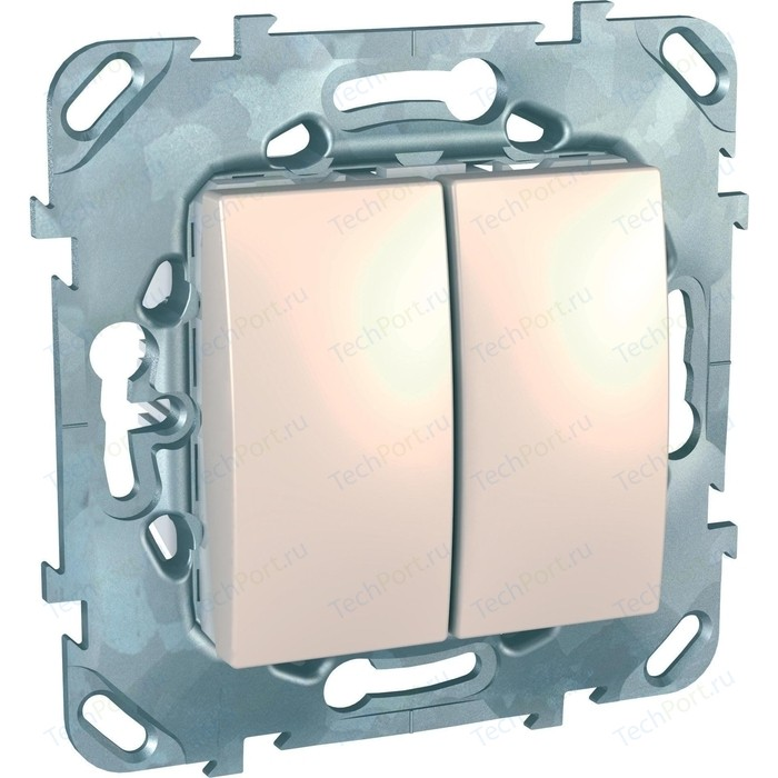 Переключатель двухклавишный Schneider Electric механизм СП UNICA бежевый MGU5.213.25ZD