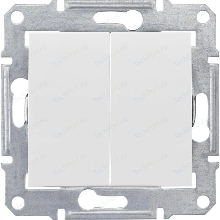 Переключатель двухклавишный Schneider Electric механизм СП Sedna белый SDN0600121