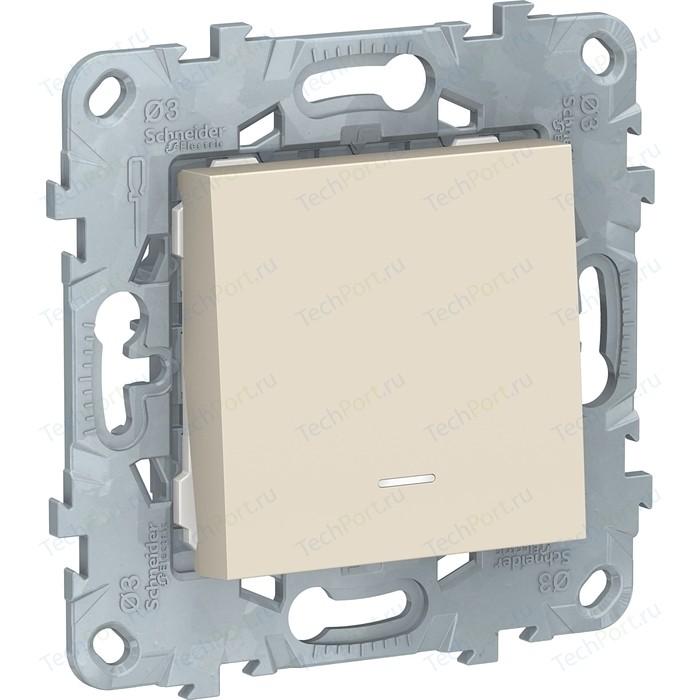 Выключатель одноклавишный Schneider Electric UNICA NEW с подсветкой (сх.1а) бежевый NU520144N