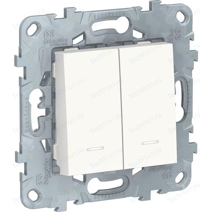 Выключатель двухклавишный Schneider Electric 2-мод. UNICA NEW с подсветкой 2х(сх.1а) белый NU521118N