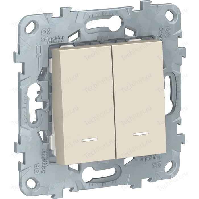 Выключатель двухклавишный Schneider Electric 2-мод. UNICA NEW с подсветкой 2х(сх.1а) бежевый NU521144N