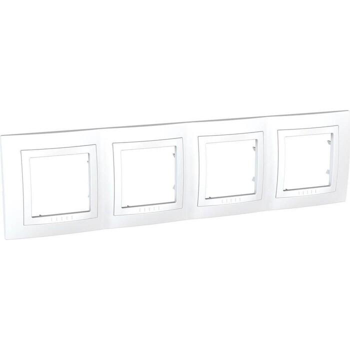 Рамка Schneider Electric на 4 поста Unica с декоративной накладкой белая MGU2.008.18