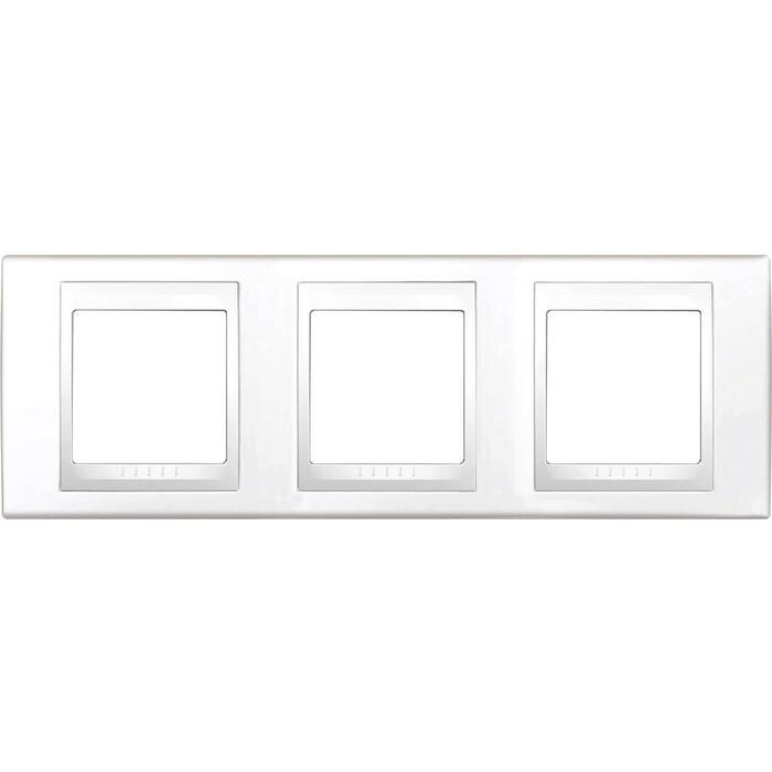 Рамка Schneider Electric на 3 поста Unica Хамелеон горизонтальная белая MGU6.006.18