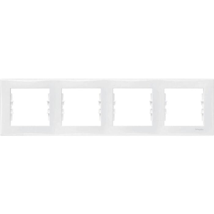 Рамка Schneider Electric на 4 поста Sedna горизонтальная белая SDN5800721