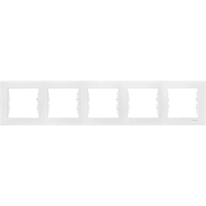 Рамка Schneider Electric на 5 поста Sedna горизонтальная белая SDN5800921