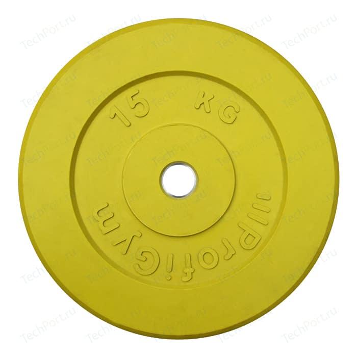 Диск обрезиненный ProfiGym 31 мм. 15 кг. желтый