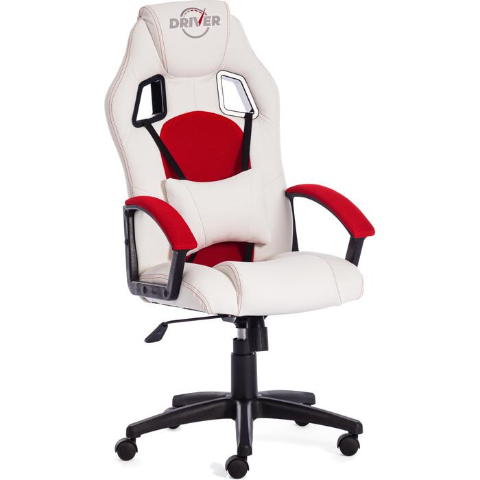 Кресло TetChair DRIVER кож/зам/ткань, белый/красный 36-01/08